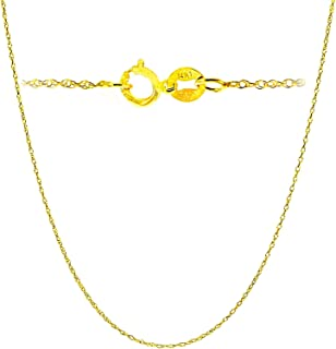 14K Yellow or white Solid Gold Italian Diamond Cut Rope Chain Necklace Very Thin Lightweight Strong with an extension