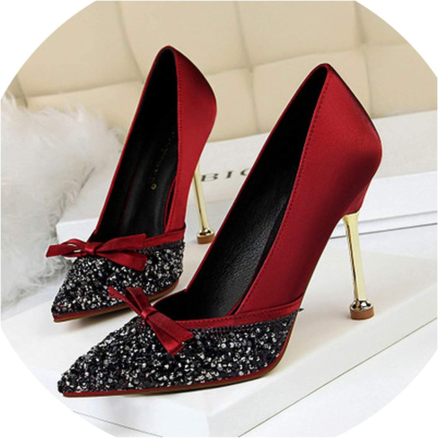DATAIYANG Metal Stiletto Heels Satin Shallow Mouth Pointed Sequins Rhinestone Single shoes Sexy Women shoes