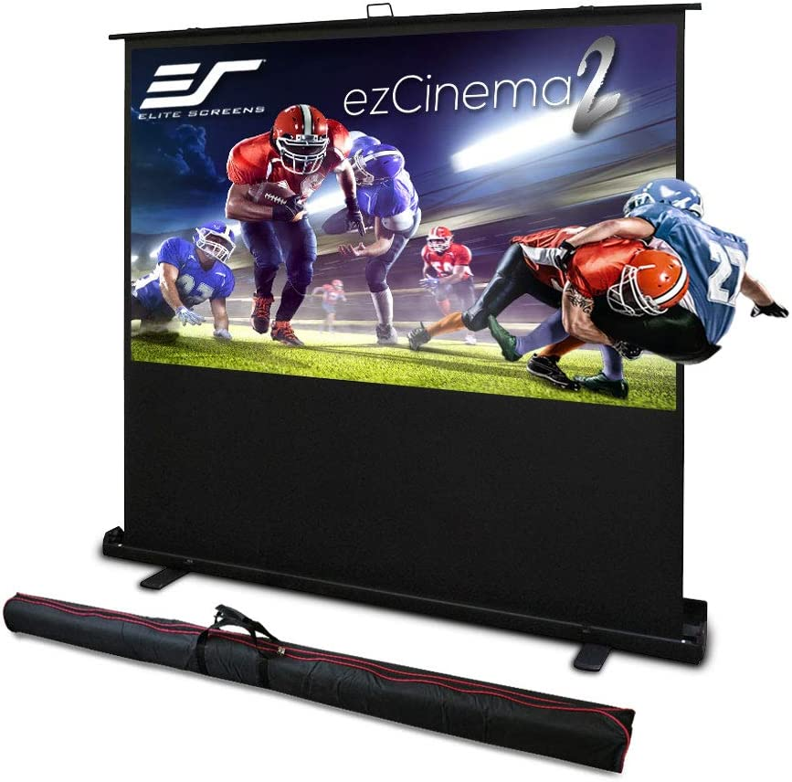Elite Screens ezCinema 2, 110-inch 16:10 Portable Manual Floor Pull Up Scissor Back Projector Screen, Home Office Classroom Front Projection Carrying Bag | US Based Company 2-YEAR WARRANTY - F110NWX2