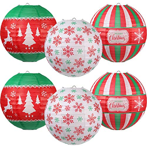 6 Pieces Christmas Hanging Paper Lanterns Set, Red Green White Christmas Party Lanterns, Round Hanging Lamps Christmas Paper Lanterns Decoration for Christmas Party Home Decoration Supplies Props