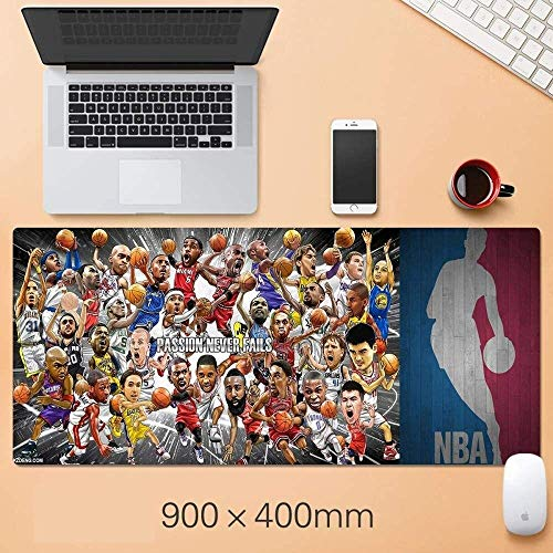 LFLLFLLFL Gaming Mouse Mat Large Mouse Mat NBA Basketball Mousepad Oversized Warriors Lakers Curry Corby Jordan Irving James Durant Mat, R Keyboard Mouse Pad (Color : W)