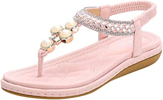 Kauneus Womens Flat Sandals Summer Rhinestone Bohemian Flip Flop Shoes