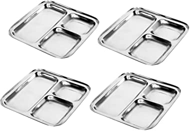 Dadi Kitchen Stainless Steel Square Plates/Dinner Thali with 3 Deep Compartments, Silver, Set of 4