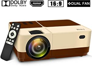 Wsky Video Portable Projector Outdoor Home Theater, LED LCD HD 1080p Supported with Dual Speakers, Compatible DVD, Phone, Laptop, HDMI, TV, PS4, PC(Brown)