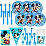 JPYH 26 pezzi Set di Articoli per Feste Mickey Mouse e Set di stoviglie per 6 Persone, Kit di Decorazioni di Compleanno per Ragazze - Zigoli di Compleanno, Piatti, Tazze, tovaglioli, cannucce