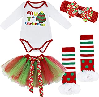 Baby Girls First Christmas Outfit Costumes Tutu Romper with Headband Leg Warmer Shoes Set