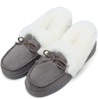 FANTURE Women's House Slippers Moccasins Slip On Micro Suede Faux Fur Lined Indoor & Outdoor U418WMT009-gray-03-37