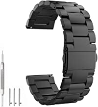EEEKit 22mm Quick Release Stainless Steel Replacement Bands Bracelet Wrist Straps for Samsung Gear S3 Frontier (SM-R770)/Gear S3 Classic (SM-R760) Smart Watch (Black)