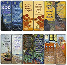 Wonderful Magnificent God Bible Scripture Cards Bookmarks (60 Pack) - Van Gogh Stocking Stuffers Sunday School Men Women Ministries Bible Study Church Supplies Cell Group Baptism Encouragement Gifts