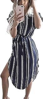 8b8e976e8242 TEMOFON Womens Dresses Summer Casual Floral Geometric Pattern Short Sleeve  Midi V-Neck Party Dress