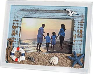 MUAMAX Mediterranean 4 x 6 Inch Beach Picture Frames Wooden Weathered Ocean Photo Frame with Sand Seagull Coastal Themed Home Accent Nautical Seaside Vacation Kids Gifts