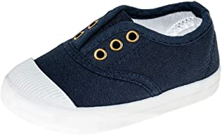 Meckior Candy Colors Kids Toddler Canvas Sneaker Boys Girls Casual Slip-on Shoes Beige Size: 11.5 Little Kid