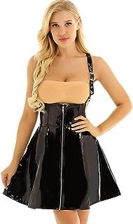 dPois Damen Sexy Träger Kleid Rock Wetlook Korsett Kleid aus Lack Leder mit Reißverschluss Faltenrock Party Club Kostüm Schwarz
