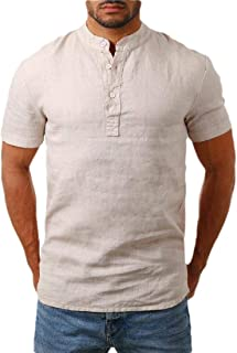 desolateness Men Linen Shirts Casual Short Sleeve Basic Summer Beach Henley Shirts Yoga Top Blouse Tee