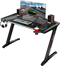 EUREKA ERGONOMIC Z2 Gaming Desk 50.6'' Z Shaped Office PC Computer Gaming Table with Retractable Cup Holder Headset Hook RGB Light for Men Boyfriend Female Gift