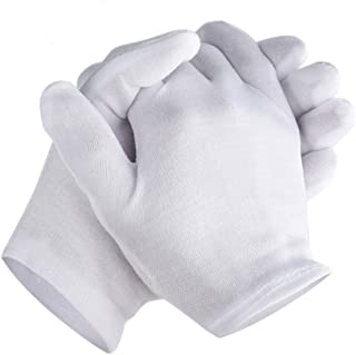 Zealor 6 Pairs White Cotton Gloves Thickened Stretchable Lining Glove for Cosmetic Moisturizing Coin Jewelry Inspection Hand Spa, Medium Size
