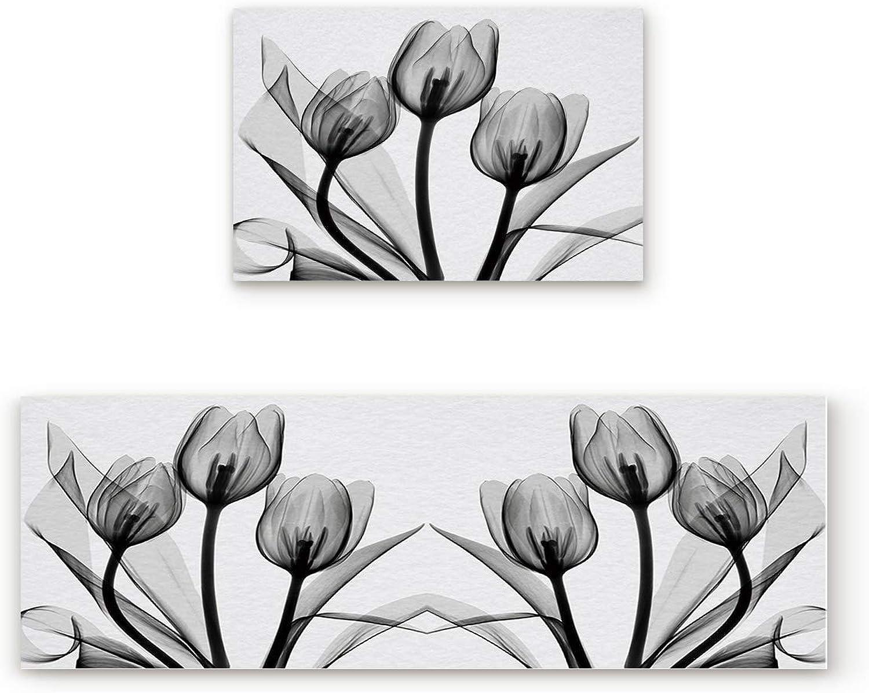 KAROLA 2 Piece Non-Slip Kitchen Mat Doormat Runner Rug Set Thin Low Pile Indoor Area Rugs Tulip Flowers Floral Pattern 19.7 x31.5 +19.7 x47.2