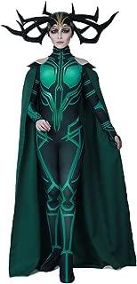 Women's Hela Cosplay Costume Halloween Bodysuit with Cape