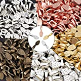 250 Pieces Oval Glue on Bail Pendants Small Spoon Earring Pendants Jewelry Glue on Bail Earring Charms for Jewelry Making DIY Crafting, 5 Colors
