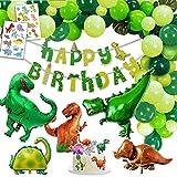 Decoracion Dinosaurio Cumpleaños, 1 Banner de Feliz Cumpleaños Happy Birthday, 2 Dinosaurios Gigantes, 3 XXL Dino Globos Metalico, 2 Set Tatuajes, 6 Tarta Toppers, 30 Globos Verde Abigarrado.