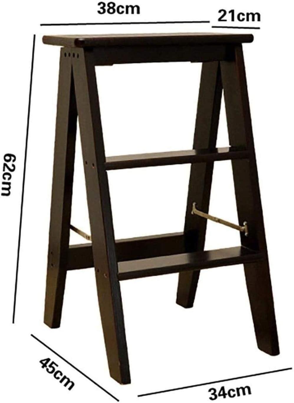 WANGXIAOYUE Escabeau Chaise en Bois Chaise Pliante Échelle Escalier Tabouret Bibliothèque à Trois Couches étapes Multi-Fonctions Escabeau Banc (Color : White) Black
