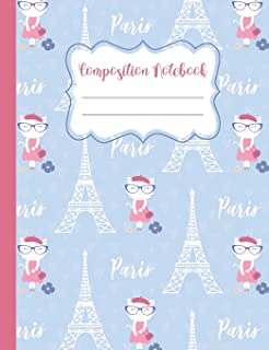 Composition Notebook: Cats in Paris - 110 Wide-Ruled Pages - Standard Composition Book Size - Fun Back to School Supplies