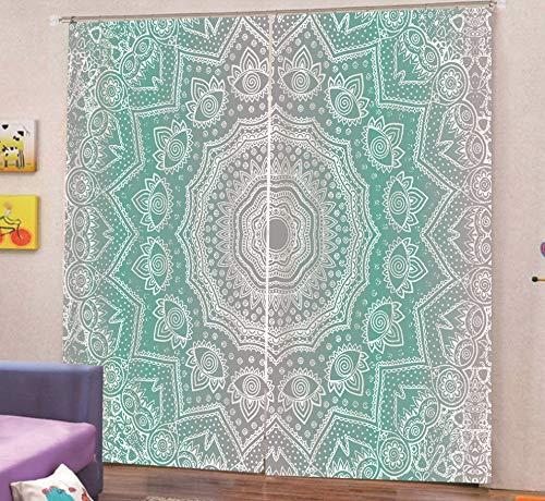 JZZCIDGa Cortinas De Mandala Verde De Ensueño, Dormitorio con Ahorro De Energía, Habitación con Aislamiento Térmico, Cortina De Oscurecimiento De Ojal, Ventana De Sala De Estar