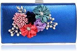 Flower Pearl Bridal Handbag, European and American Ladies 'Buckle Safety Ladies' Clutch, Dress Banquet Event Clutch, Decorative Items (22 * 4.5 * 11.5Cm),Blue