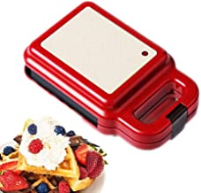 YWAWJ Mini Waffle Maker, Sandwich Toaster Automatic Temperature Control Electric Grill Press Perfect for Toasted Cheese Snacks Waffle and Grill with Deep Non-Stick Plates, (Color : Pink)
