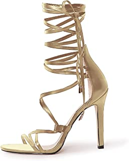 Women's Gladiator Ankle Strap Lace up High Heels Open Toe Stiletto Harmoni Heeled Strappy Sandals