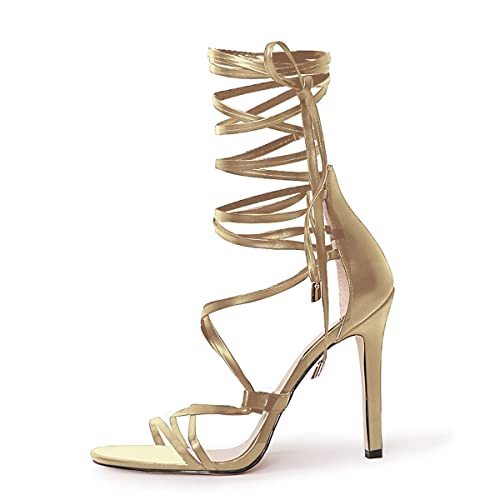489fbcc4df onlymaker Women's Gladiator Ankle Strap Lace up High Heels Open Toe Stiletto  Harmoni Heeled Strappy Sandals