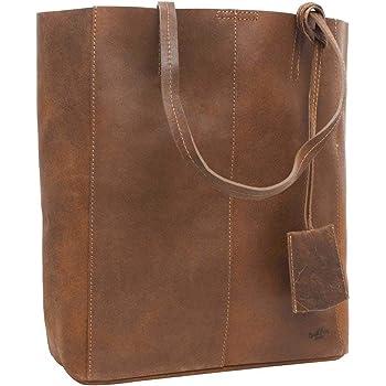 Ledershopper A4 Format Lederbeutel Shopping Bag Zeitlos Braun//Schwarz ECHT LEDER