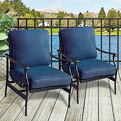 PatioFestival Patio Chairs Bistro Rocking Sofa Chair Modern Outdoor Furniture Set Conversation Sets with 5.1 Inch Thick Seat Cushions (2PCS-2, Blue)