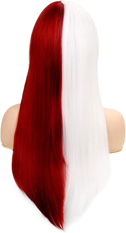 Perruque Moiti/é Rouge Moiti/é Blanc Anime Cosplay Perruque avec Frange Courte Cheveux Raides Synth/étique Halloween Carnaval Costume Par Beweig