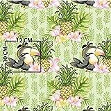 Pingianer 8,98€/m Tukan Vogel Ananas 100% Baumwolle