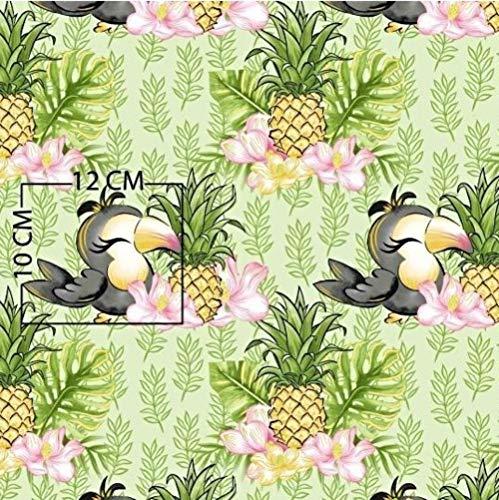 Pingianer 8,98€/m Tukan Vogel Ananas 100% Baumwolle 50x160cm Baumwollstoff Meterware Handwerken Nähen Stoff