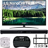 LG 65' 65SM8600PUA 4K HDR Smart LED NanoCell TV w/AI ThinQ 2019 Model with Home Theater 31' Soundbar, Wireless Backlit Keyboard, Flat Wall Mount Kit & SurgePro 6-Outlet Surge Adapter