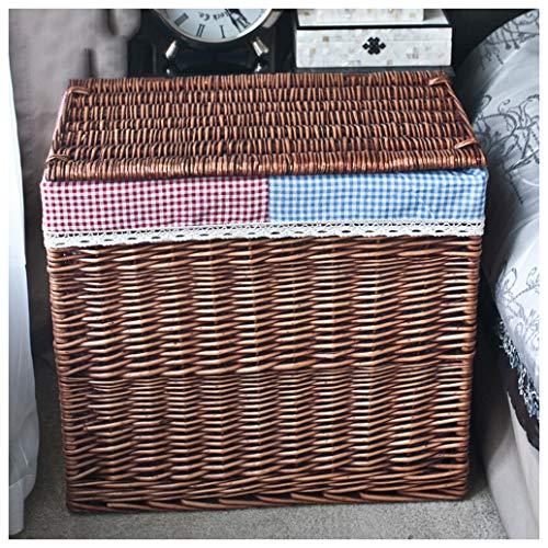 Shirley,s Home Cesto de lavandería Grande Cesta Doble para la Ropa, Cajas de Organizador rectangulares de Almacenamiento con clasificador de lavandería con Tapa, Dos Compartimentos (Color : Brown B)