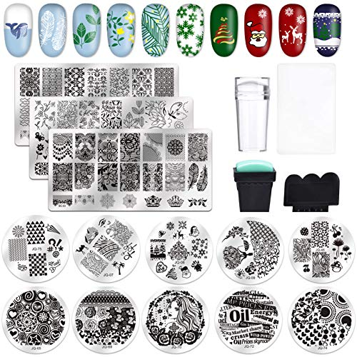 Biutee 19Pcs Stamping Plates for Nails Kit 13PCS Nail Stamping Plates 2PCS Nail Stampers 2PCS Scrapers Sets Nail Art Stamp Template Image Plate Stencils Tool for Manicure Art Design
