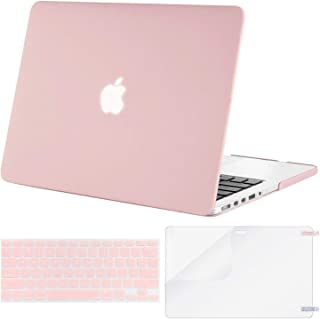 MOSISO Case Only Compatible with Older Version MacBook Pro Retina 13 inch (Models: A1502 & A1425) (Release 2015 - end 2012), Plastic Hard Shell & Keyboard Cover & Screen Protector, Rose Quartz