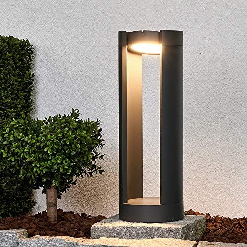 Lucande LED Außenleuchte 'Dylen' (Modern) in Schwarz aus Aluminium (1 flammig, A+, inkl. Leuchtmittel) - Wegeleuchte, Pollerleuchte, Wegelampe, Sockelleuchte