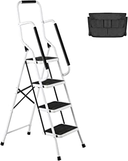 4 Step Ladder Tool Ladder Folding Portable Steel Frame MAX 500 lbs Non-Slip Side armrests Large Area Pedals Detachable Too...