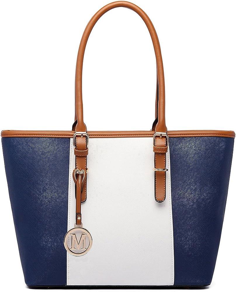 Miss lulu, borsa da donna, in pelle sintetica, blu E1661