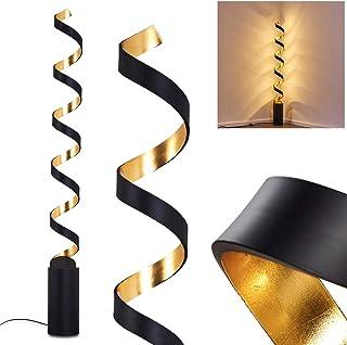 Lampadaire LED Rezat en métal noir et or, élégant luminaire parfait pour un salon moderne ou une chambre design, avec un i...