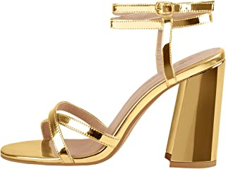 Women's Double Ankle Strappy Heeled Sandals Cross Band Chunky Block Heel