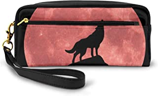 Cosmetic Bag Toiletries Bags Wolf Howling Blood Moon Makeup Pouch Travel Cases Pen Pencil Bag Power Lines Storage Of Zipper Resistance Carry Handle