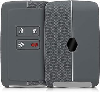 Carcasa Protectora Suave de Silicona kwmobile Funda de Silicona para Llave con Control Remoto de 2 Botones para Coche Renault Nissan Opel Case Mando de Auto Negro