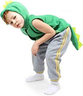 Fedio Kid's Dinosaur Costume Cosplay Dino Animal Dress up for Toddler Children (Ages 3-6,Green)