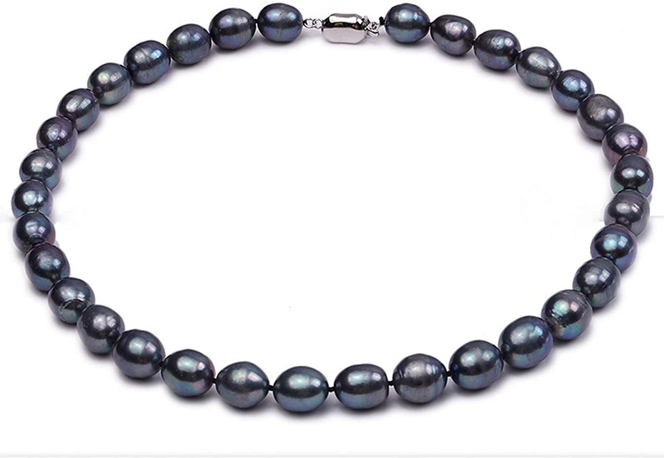 JYX 10-11mm Black Oval Freshwater Single Pearl Necklace Pearl Strand 18