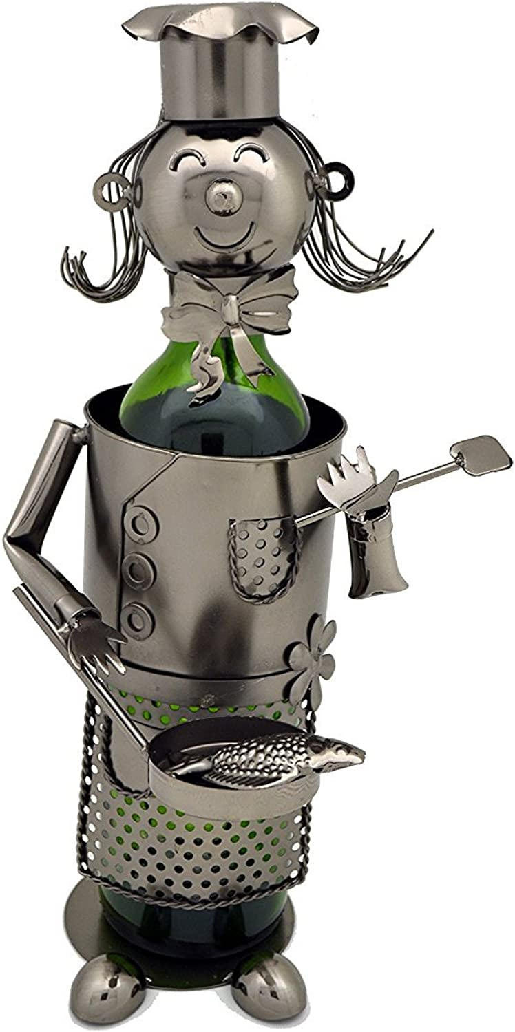 WINE BODIES ZB1350 Lady Chef Metal Bottle Holder, Charcoal
